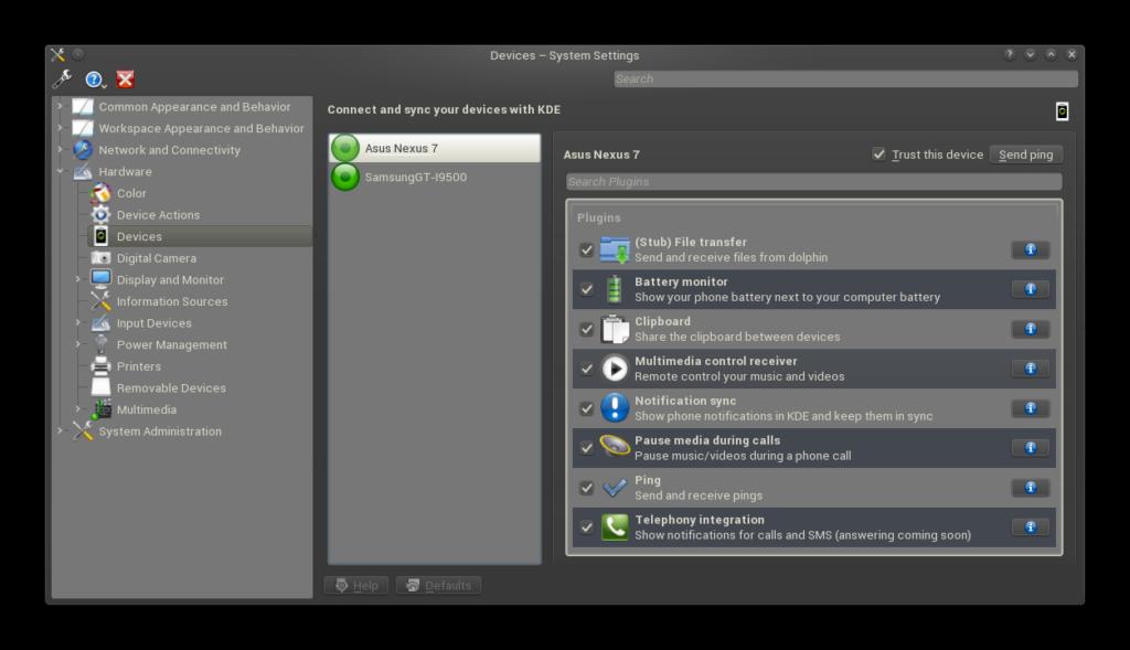 KDE-connect-devices